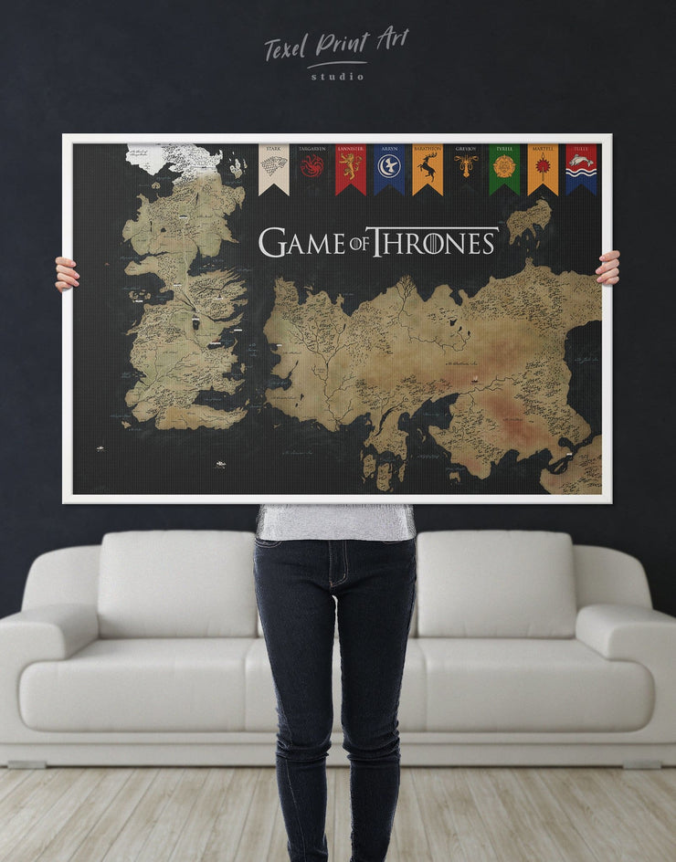 Framed Games of Thrones Map with House Sigils Wall Art Canvas - bedroom black and gold wall art Dining room dining room wall art Framed
