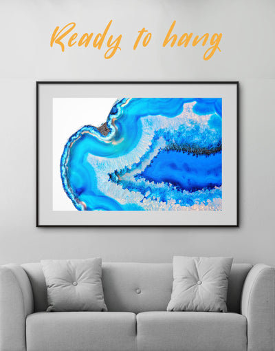 Framed Geode Wall Art Print - Abstract bedroom blue blue and white Blue wall art for living room