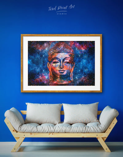 Framed Geometric Mandala Buddhist Wall Art Print - bedroom Blue Buddha wall art buddhist wall art framed print