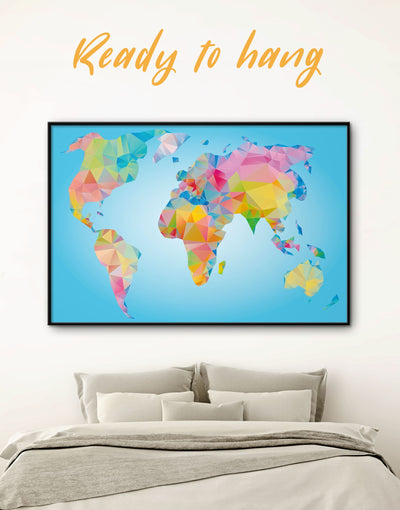 Framed Geometric Map of the World Wall Art Canvas - Abstract map bedroom blue wall art for bedroom corkboard framed