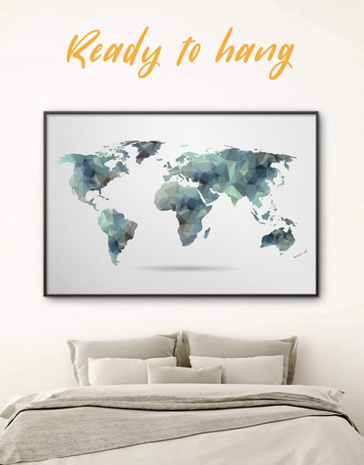 Framed Geometric Map Wall Art Canvas - Abstract Abstract map abstract world map wall art framed canvas framed map wall art