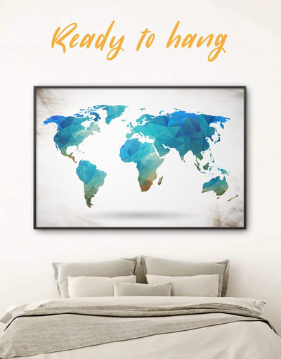 Framed Geometric Map Wall Art Canvas - Abstract Abstract map abstract world map wall art bedroom Blue