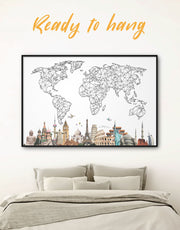 Framed Geometric Map with Landmarks Wall Art Canvas