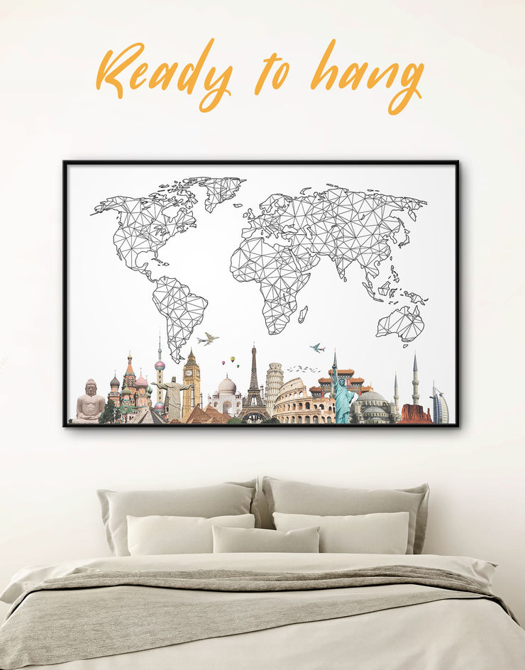Framed Geometric Map with Landmarks Wall Art Canvas - Abstract bedroom Black and white world map Dining room framed canvas