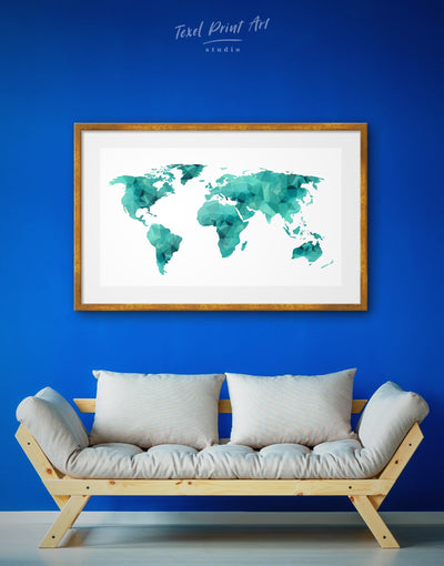 Framed Geometric Teal Map Wall Art Print - Abstract map abstract world map wall art bedroom framed print framed world map print