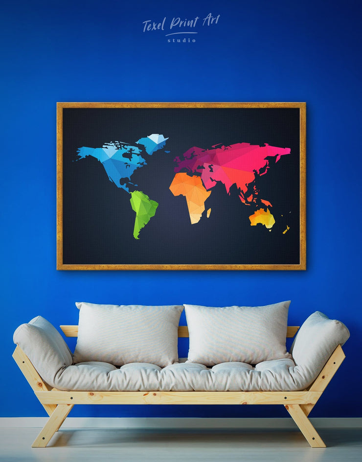 Framed Geometric Wall Art Canvas - Abstract Abstract map abstract world map wall art bedroom black