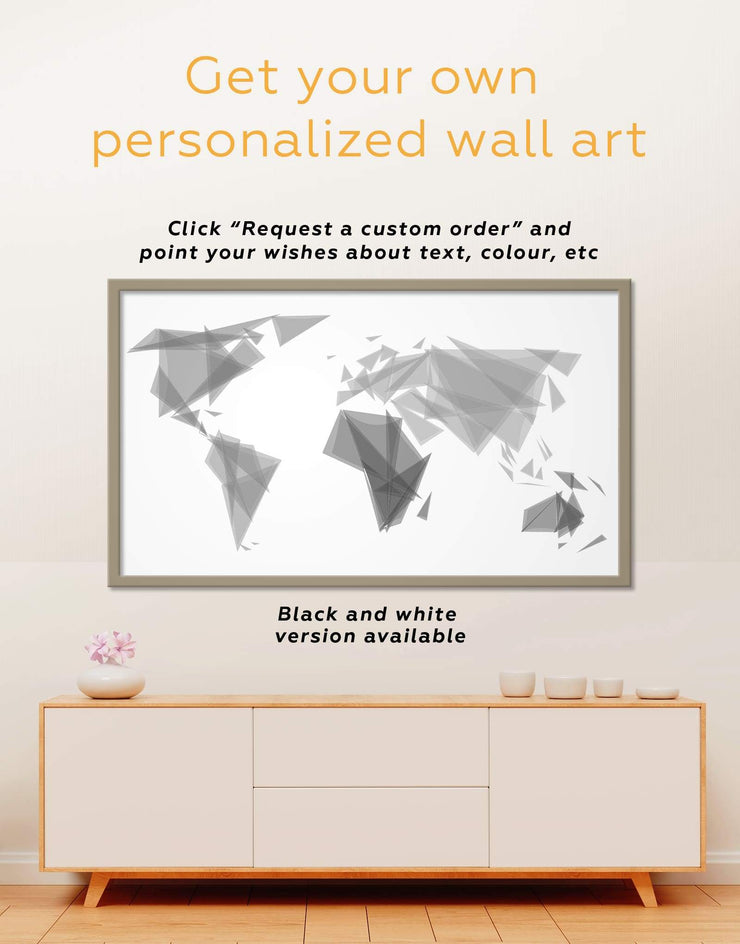 Framed Geometric World Map Wall Art Canvas - Abstract Abstract map bedroom brown framed canvas