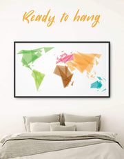Framed Geometric World Map Wall Art Canvas 0012