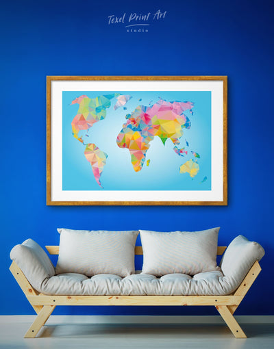 Framed Geometric World Map Wall Art Print - Abstract map bedroom blue wall art for bedroom framed map wall art framed print