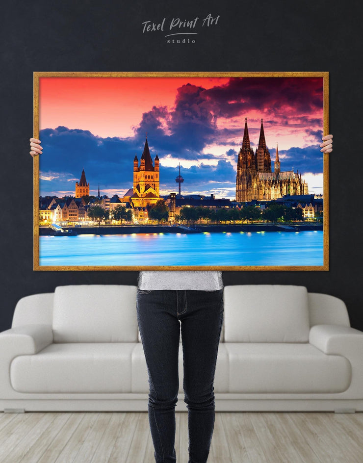 Framed Germany Cityscape Wall Art Canvas - Canvas Wall Art bedroom City Skyline Wall Art Cityscape framed canvas Hallway