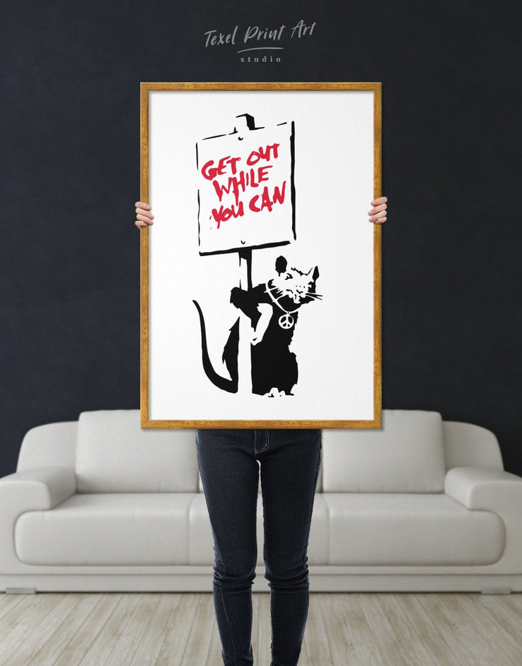 Framed Get Out While You Can by Banksy Wall Art Canvas - Banksy banksy wall art bedroom Black Contemporary