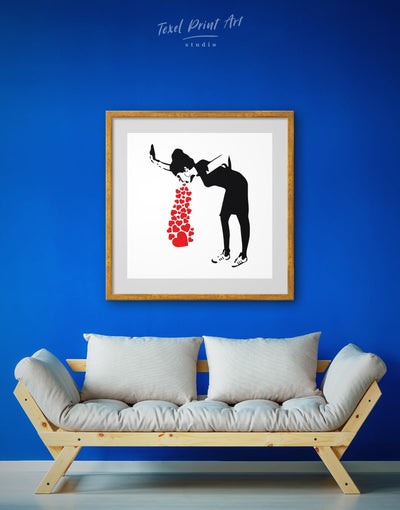 Framed Girl Throwing Up Hearts by Banksy Wall Art Canvas - Banksy banksy wall art Black black and white wall art Contemporary