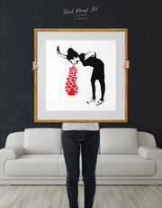 Framed Girl Throwing Up Hearts by Banksy Wall Art Canvas