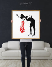 Framed Girl Throwing Up Hearts by Banksy Wall Art Print