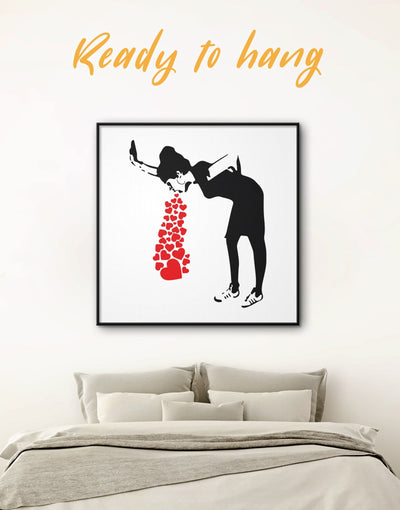 Framed Girl Throwing Up Hearts by Banksy Wall Art Print - Banksy banksy wall art Black black and white wall art Contemporary
