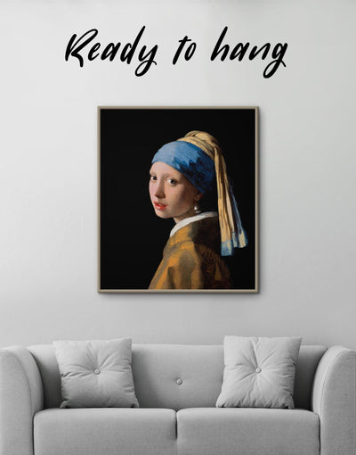 Framed Girl with a Pearl Earring by Johannes Vermeer Wall Art Canvas - Canvas Wall Art bedroom framed canvas Hallway Living Room Office Wall