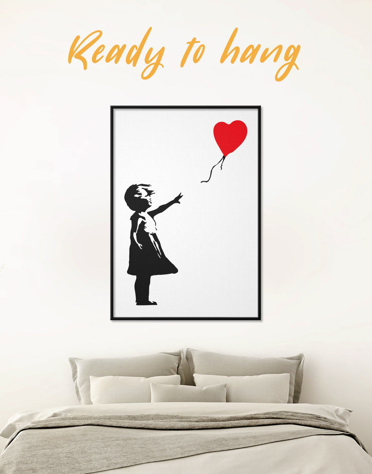 Framed Girl with Balloon by Banksy Wall Art Canvas - Banksy Banksy wall art bedroom Black Contemporary