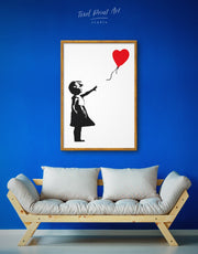 Framed Girl with Balloon by Banksy Wall Art Canvas