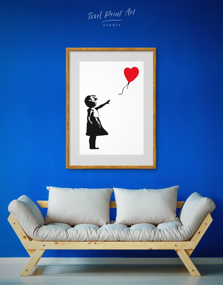 Framed Girl with Balloon by Banksy Wall Art Print - Banksy Banksy wall art bedroom Black Contemporary