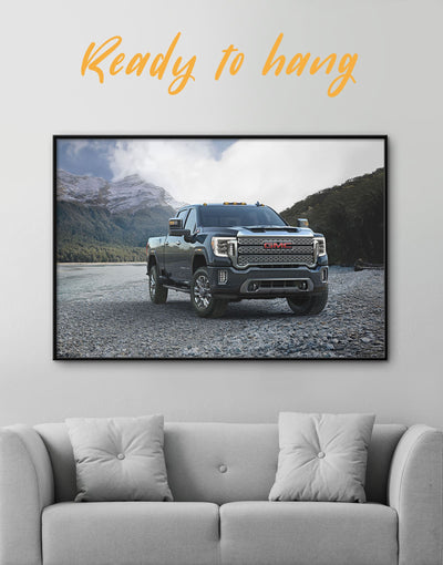 Framed GMC Pickup Truck Wall Art Canvas - bachelor pad Car framed canvas garage wall art Hallway