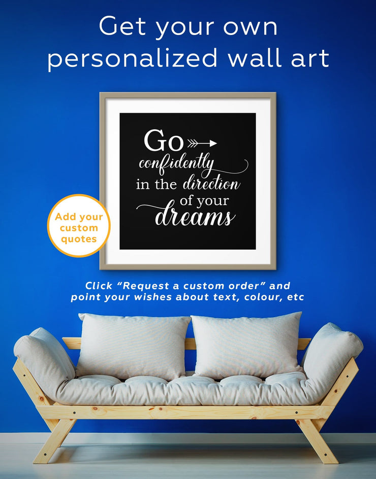 Framed Go Confidently In The Direction Of Your Dreams Wall Art Print - Wall Art bedroom framed print Hallway inspirational wall art Living