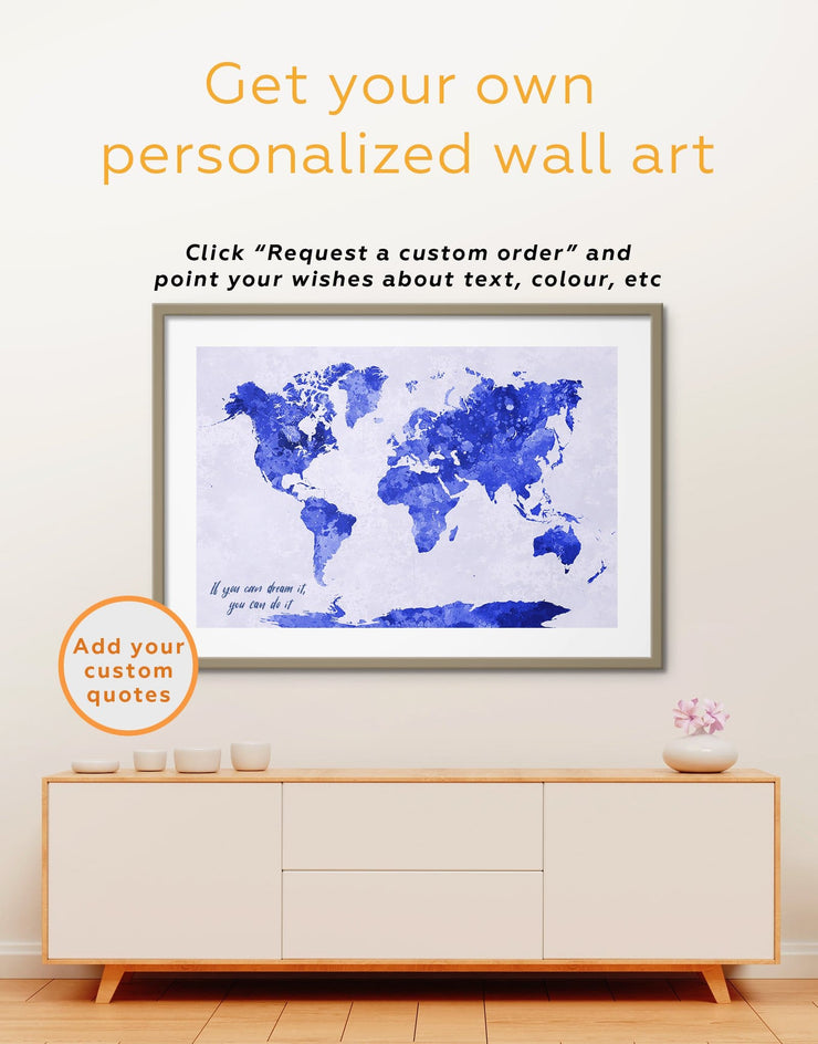 Framed Gold Abstract World Map Wall Art Print - Abstract Map framed print framed world map print Gilded world map wall art Gold