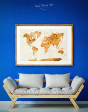 Framed Gold Abstract World Map Wall Art Print