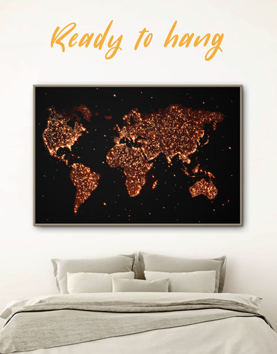 Framed Gold Lights World Map Wall Art Canvas - Abstract map bedroom black framed canvas framed world map canvas