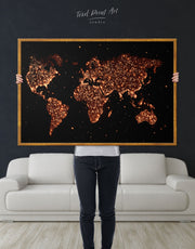 Framed Gold Lights World Map Wall Art Canvas