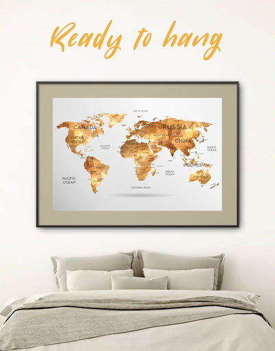 Framed Gold Map Wall Art Print - Abstract Abstract map abstract world map wall art bedroom Contemporary