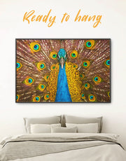 Framed Gold Peacock Wall Art Canvas