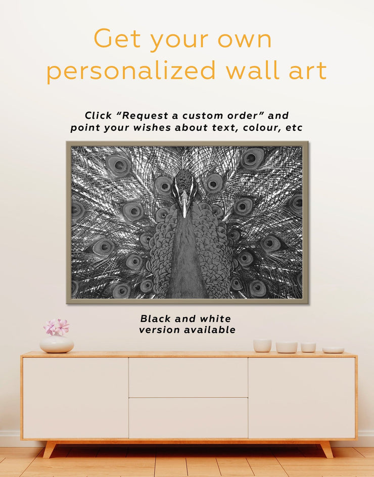 Framed Gold Peacock Wall Art Canvas - Animal bedroom bird wall art Dining room dining room wall art
