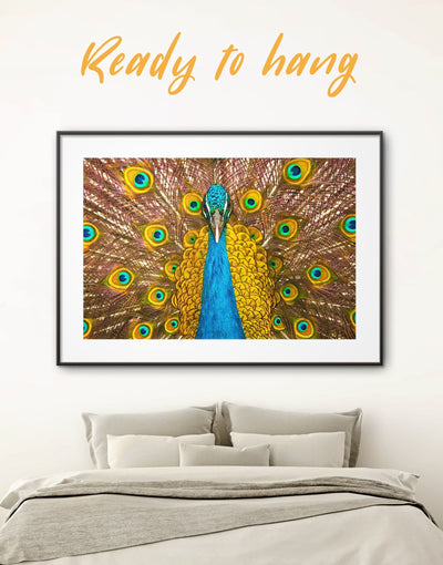 Framed Gold Peacock Wall Art Print - Animal bedroom bird wall art Dining room dining room wall art