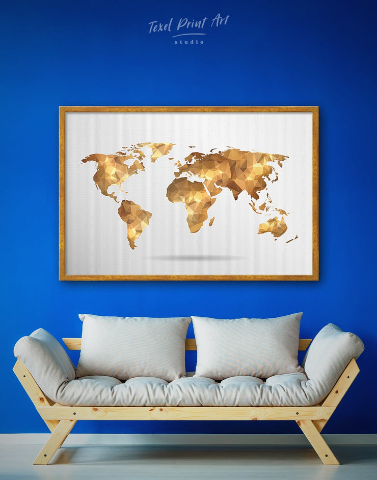 Framed Gold World Map Wall Art Canvas - Abstract map bedroom framed framed canvas framed world map canvas