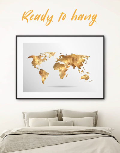 Framed Gold World Map Wall Art Print - Abstract map bedroom framed framed print framed world map print