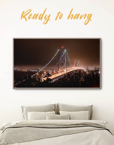 Framed Golden Gate at Night Wall Art Canvas - bedroom Bridge framed canvas Golden Gate bridge wall art Living Room