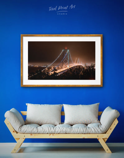 Framed Golden Gate Lights Wall Art Print - bedroom Bridge framed print Golden Gate bridge wall art Living Room