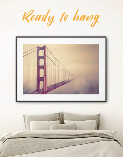 Framed Golden Gate Wall Art Print - bedroom Bridge framed print framed wall art Golden Gate bridge wall art