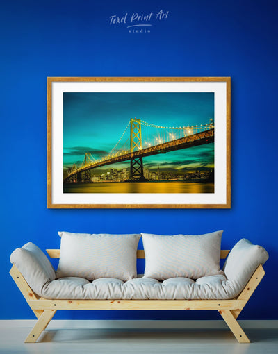 Framed Golden Gate Wall Art Print - blue Bridge framed print Golden Gate bridge wall art green