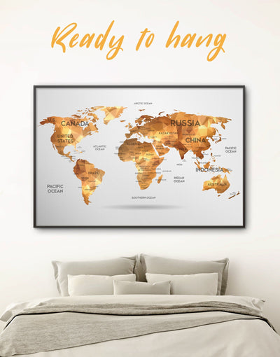 Framed Golden Geometric Map Wall Art Canvas - Abstract Abstract map abstract world map wall art bedroom Contemporary