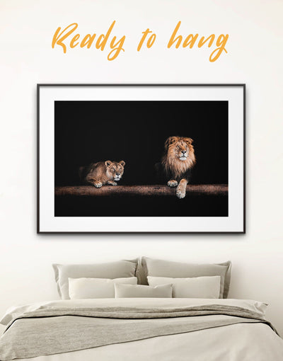 Framed Golden Lions Wall Art Print - Animal bedroom black and gold wall art framed print framed wall art