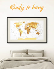 Framed Golden Map Wall Art Print