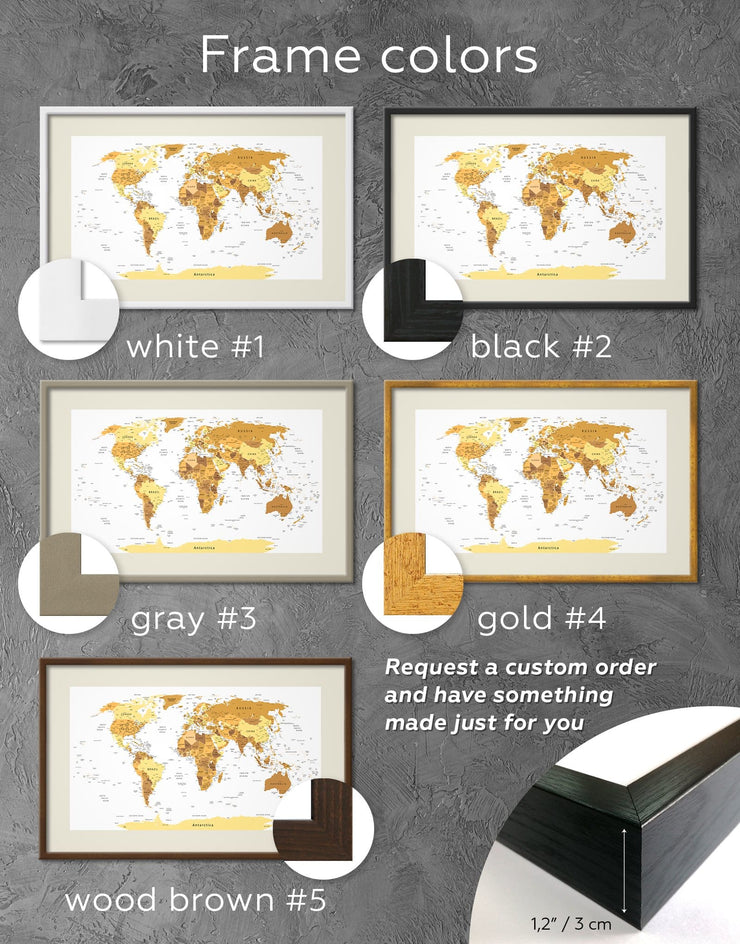 Framed Golden Map Wall Art Print - bedroom contemporary wall art framed framed map wall art framed print