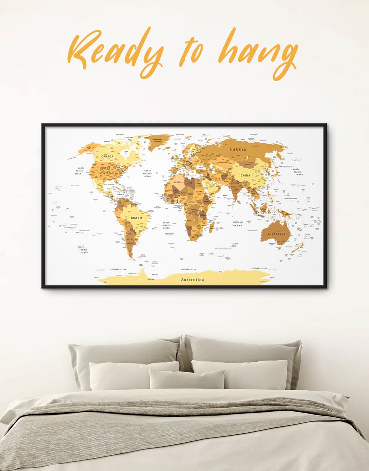 Framed Golden World Map Wall Art Canvas - bedroom contemporary wall art corkboard framed framed canvas