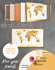 Framed Golden World Map Wall Art Canvas