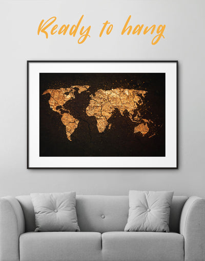 Framed Golden World Map Wall Art Print - Abstract map bedroom black black and gold wall art framed print