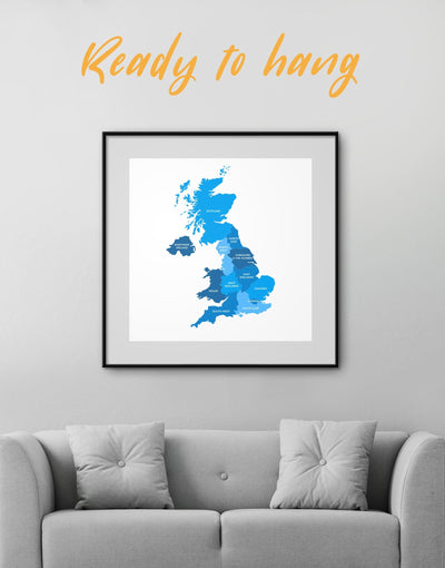 Framed Great Britain Map Wall Art Print - bedroom Blue Country Map framed print Hallway