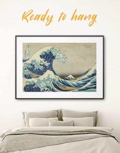 Framed Great Wave Off Kanagawa Wall Art Print - asian wall art bedroom framed print japanese wall art Living Room