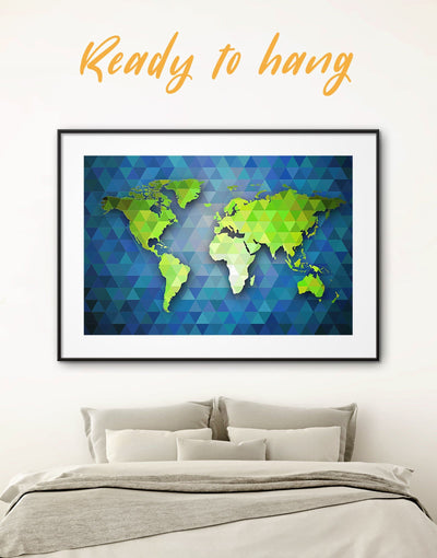 Framed Green and Blue Geometric Map Wall Art Print - Abstract Abstract map bedroom blue and green wall art framed