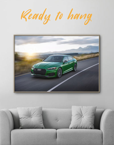 Framed Green Audi RS5 Wall Art Canvas - bachelor pad Car framed canvas garage wall art wall art for men